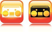 Boom Box,Radio,Red,Stereo,Personal Cassette Player,Music,music player,Orange Color,Symbol,Design Element,Design,Shiny,Interface Icons,Concepts And Ideas,Isolated Objects,Yellow,Illustrations And Vector Art,Vector,Vector Icons,Speaker,Computer Icon,Heat - Temperature,Square Shape