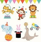 Happiness,Performance,Hat,Ball,Traveling Carnival,Dancing,Circus,Cheerful,Animal,Jumping,Magician,Smiling,Bicycle,Amusement Park,Seal - Animal,Sea Lion,Elephant,Lion - Feline,Tiger,Rabbit - Animal,Parrot,Monkey,Childhood,Fun,Juggling,Zoo,Cute,Plastic Hoop,Illustration,Cartoon,Vector,Performing Arts Event,2015