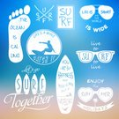 Summer,Beach,Sport,Fashion,Sea,Symbol,Insignia,Vacations,Footprint,Black And White,Badge,Vector,Label,Surfboard,Collection,Sunglasses