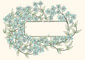 Forget-Me-Not,Flower,Watercolor Painting,Floral Pattern,Frame,Old-fashioned,Blue,Sketch,Drawing - Activity,Greeting Card,Vector,Decoration,Letter,Design Element,Part Of,Copy Space,Vector Florals,Flowers,Nature,Illustrations And Vector Art