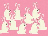 Horizontal,Animal,Whisker,Easter,Season,Springtime,Illustration,Pop Art,Large Group of Objects,No People,Colored Background,Forest Animal,2015,Number Of Objects,Pink Background,woodland animal