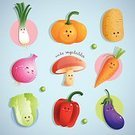 Happiness,Cheerful,Label,Smiling,Vegetable,Onion,Lettuce,Carrot,Raw Potato,Bell Pepper,Pumpkin,Fun,Orthographic Symbol,Scallion,Eggplant,Cute,Anthropomorphic Smiley Face,Illustration,Organic,Cartoon,Pepper - Vegetable,Edible Mushroom,Dieting,Vector,Characters,2015,Icon Set