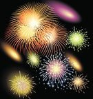Firework Display,Pyrotechnics,Vector,Celebration,Backgrounds,Light - Natural Phenomenon,Exploding,Sky,Ilustration,Black Color,Fire - Natural Phenomenon,Multi Colored,Night,Firework Celebration,Dark,night sky