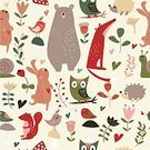 Nature,Book,Animal,Animal Markings,Teddy Bear,Animals In The Wild,Bird,Pattern,North,Bear,Fox,Hare,Rabbit - Animal,Squirrel,Hedgehog,Owl,Snail,Flower,Season,Springtime,Autumn,Mushroom,Woodland,Forest,Backgrounds,Wrapping Paper,Child,Cute,Illustration,Painted Image,Baby Rabbit,Vector,Collection,Background,2015,Seamless Pattern