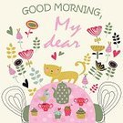 Emotion,Love,Chair,Table,Kettle,Touching,Bird,Circle,Domestic Cat,Flower,Greeting,Decoration,Heart Shape,Cute,Valentine's Day - Holiday,Illustration,Vector,Morning,Cupcake,Good Morning,2015