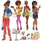 Computer Graphics,People,Clothing,Glamour,Shoe,Bag,African-American Ethnicity,Laughing,Shopping Mall,Multi Colored,Beauty,Customer,Computer Graphic,Adult,Outline,High Heels,Illustration,Women,Vector,Fashion,African Ethnicity,Beautiful People,Clearance,2015,Boutique