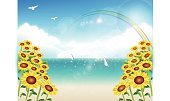 Sailing,Bird,Blue,Material,Sky,Summer,Sunflower,Sea,Pacific Ocean,Pacific Islands,Illustration,Sandy Beach Oahu,No People,Vector,2015,Background Illustration