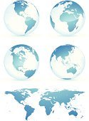 Globe - Man Made Object,World Map,Earth,Three-dimensional Shape,Map,Sign,Planet - Space,Sphere,Blue,Global Communications,Communication,Europe,Symbol,USA,Shiny,Computer Icon,Land,Circle,Cartography,Africa,The Americas,Sea,Turquoise,Color Image,Colors,Nature,Illustrations And Vector Art,Nature Symbols/Metaphors,Vector Icons