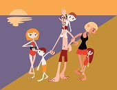 Family,Beach,Walking,Father,Mother,Sister,Swimwear,Offspring,People,Families,Vector Cartoons,Lifestyle,Illustrations And Vector Art,Brother,Parent,Sea