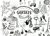 Doodle,Gardening,Sketch,Drawing - Art Product,Flower,Pencil Drawing,Ilustration,Black Color,Pattern,Leaf,White,Ink,Backgrounds,Design Element,Isolated,Part Of,Isolated-Background Objects,Concepts And Ideas,Isolated Objects