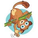 Palm Tree,Cute,Cartoon,Mammal,Tarsier,Ape,Illustration,2015,Animal Eye,Childhood,Smiling,Kids - Charity Organization,Small,small mammal,Animal Body Part,Fun,Vector,Brown
