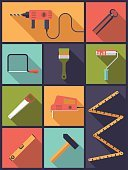 Work Tool,Symbol,Variation,Drill,Hand Saw,Hammer,Workshop,Art And Craft,Craft,Paintbrush,Pliers,Level,DIY,Paint Roller,Illustration,Electric Saw,Yardstick,No People,Vector,Jigsaw,Electricity,Collection,2015,Serrated,Flat Design,Home Improvement