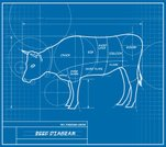 Steak,Cattle,Diagram,Blueprint,Domestic Cattle,Farm,Animal,Circle,Rib,Plan,Backgrounds,Drawing - Art Product,Ilustration,Sirloin Steak,Chuck,Animal Backgrounds,Mammals,Farm Animals,Animals And Pets