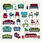 Furniture,Symbol,Sofa,Table,Indoors,Armchair,Electric Lamp,Decoration,Computer Icon,Chandelier,Domestic Life,Illustration,Group Of Objects,No People,Vector,2015,Vintage style,Clip Art,Furniture Set,Icon Set,interior set
