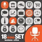 People,Chair,Necktie,Shopping Cart,Business,Coat Of Arms,Office,Briefcase,Chart,Clock,Weight Scale,Lock,Sphere,Atom,Speech Bubble,Computer Icon,Office Chair,Shield,Illustration,Vector,2015,Icon Set