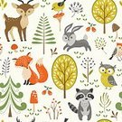 Nature,Animal Wildlife,Animal,Animal Markings,Animals In The Wild,Bird,Pattern,Deer,Fox,Hare,Rabbit - Animal,Owl,Bush,Tree,Berry,Summer,Woodland,Forest,Raccoon,Backgrounds,Berry Fruit,Cute,Grass,Illustration,Cartoon,Young at Heart,Vector,Background,2015,Bush,Berry,Seamless Pattern,268299