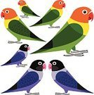 Exoticism,Symbol,Animal Wildlife,Animal,Bird,Tropical Bird,Parrot,Cut Out,Abstract,Illustration,Group Of Objects,No People,Vector,Lovebird,2015,Design Element,268399