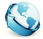 Globe - Man Made Object,Earth,Sphere,World Map,Arrow Symbol,Sign,Three-dimensional Shape,Circle,Turning,Planet - Space,Map,Blue,Around,USA,Glass - Material,Transparent,Cartography,Computer Icon,Symbol,Land,The Americas,Sea,Spire,Shiny,Colors,Color Image,Reflection,Plastic,Vector Icons,Technology Symbols/Metaphors,Illustrations And Vector Art,Technology