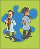 Scientist,Cartoon,Mad Scientist,Doctor,Professor,Laboratory,Telephone,Letter,On The Phone,Eyewear,Science,Busy,Tie,Physicist,Tousled Hair,Waistcoat,Preschool,Chemistry,Chemist,Lab Coat,Message,Pocket,Text Messaging,Research,Intelligence,Mirrored Pattern,Mustache,Medical,Vector Cartoons,Medicine And Science,Illustrations And Vector Art,Pensive,Mobile Phone,Concentration