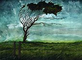 Tree,Storm,Watercolor Painting,Landscape,Wind,Art,Paint,Painter,Horizon,Painted Image,Ilustration,Individuality,Landscapes,Nature Backgrounds,Nature,Horizontal,Weather,Illustrations And Vector Art