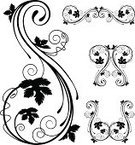 Grape Leaf,Fretwork,Vine,Corner,Leaf,Growth,Swirl,Vector,Scroll Shape,Fleuron,Frame,Antique,Foliate Pattern,Decoration,Ornate,Stem,Gothic Style,Clip Art,Black And White,Design Element,Intricacy,Design,Spiral,Art Deco,Old-fashioned,Curled Up,Curve,Victorian Style,Elegance,Branch,Retro Revival,Vector Ornaments,Vector Florals,Collection,Cartouche,Illustrations And Vector Art