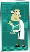 Laboratory,Scientist,Nerd,Cartoon,Science,Chemistry,Mathematics,Mathematical Symbol,Computer,Ilustration,Men,People,Vector,Potion,Characters,Chemistry Class,Eyeglasses,One Person,Alchemy,Occupation,Job - Religious Figure,Adult