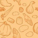 Raw Potato,Corn,Carrot,Eggplant,Pattern,Corn On The Cob,Pumpkin,Squash - Vegetable,Ilustration,Bell Pepper,Vector,Backgrounds,Line Art,Seamless,Green Bean,Vector Backgrounds,Fruits And Vegetables,Food Backgrounds,Repetition,Food And Drink,Illustrations And Vector Art