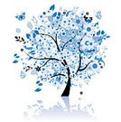 Tree,Blue,Butterfly - Insect,Blossom,Flower,Backgrounds,Vector,Growth,Leaf,Painted Image,Symbol,Design,Plant,Flower Head,Branch,Black Color,Beautiful,Decoration,Bush,Reflection,Tree Trunk,Curve,Image,Nature,Petal,Nature,Plants,Nature Abstract,Flowers,Decor