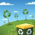 Recycling,Recycling Symbol,Garbage,Tree,Pollution,Environmental Conservation,Green Color,Backgrounds,Three-dimensional Shape,Symbol,Religious Icon,Recycling Bin,Grass,Ilustration,Vector,Nature,Non-Urban Scene,Arrow Symbol,Cloud - Sky,Sky,No People,Cleanup,Isolated On White