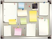 Bulletin Board,Adhesive Note,Paper,Note Pad,Advice,Letter,Spiral Notebook,Office Interior,Paper Clip,Personal Organizer,Page,Torn,Document,Office Supply,Reminder,Dirty,Photograph,Data,Instant Print Transfer,Message,Information Medium,Blank,Inspiration,Striped,Aluminum,Equipment,Ideas