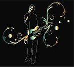 Guitar,Music,Singer,Vitality,Popular Music Concert,Microphone,Rock and Roll,Vector,Computer Graphic,Creativity,Performer,Musical Instrument,Men,Ilustration,Arts And Entertainment,People,Illustrations And Vector Art,Music,Elegance,Ornate,Entertainment,Design