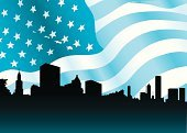 Chicago,American Flag,Cityscape,Urban Skyline,Downtown District,Sears Tower,Office Building,Backgrounds,Silhouette,City,USA,Skyscraper,Ilustration,Architecture And Buildings,Vector Backgrounds,Travel Locations,Backdrop,Architecture,Illustrations And Vector Art
