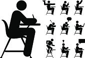 Student,Symbol,Classroom,Education,School Building,Stick Figure,Desk,Computer Icon,Sitting,Sleeping,Icon Set,Writing,Using Computer,Learning,Thinking,Adult Student,Laptop,Vector,Studying,Paper Airplane,Back to School,Homework,Dancing,Asking,Black And White,Talking,Reading,Thought Bubble,Using Laptop,School Children,Light Bulb,Discussion,Communication,Hand Raised,Orthographic Symbol,Ideas,White,Throwing,Inspiration,Ilustration,Answering,Student Desk,White Background,Medium Group Of People