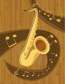 Saxophone,Jazz,Musical Note,Music,Backgrounds,Musical Instrument,Single Line,Ilustration,Design,Brown,Yellow,Circle,Striped,Illustrations And Vector Art,Arts Symbols,Music,Arts And Entertainment,Vector Cartoons