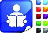 Reading,Book,Symbol,Library,Computer Icon,Men,Wisdom,Expertise,Learning,Digitally Generated Image,Label,Education,Vector,Holding,Stick Figure,Computer Graphic,Shiny,Blue,Orange Color,Purple,Design,Black Color,Ilustration,Red,Green Color