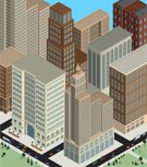 Isometric,Built Structure,City,Building Exterior,Town,Car,Skyscraper,Traffic,Truck,Street,Old,Retro Revival,History,Pick-up Truck,Architecture Backgrounds,Architectural Detail,Office Buildings,Architecture And Buildings