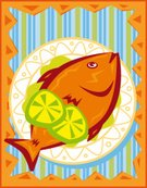 Prepared Fish,Seafood,Ready-To-Eat,Barbecue,Grilled,Recipe,Meal,Vector,Crockery,Baked,Lemon,Main Course,Lunch,Foods and Drinks,Food And Drink,Gourmet,Healthy Eating,Butter,Freshness,Lime,No People,Ilustration,Horizontal,Color Image,Striped,Still Life,Vertical