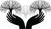 Human Hand,Hands Cupped,Tree,Silhouette,Black And White,Forest,Religious Icon,Symbol,Plant,Woodland,Wood - Material,Nature,Nature,Illustrations And Vector Art