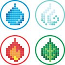 Pixelated,Fire - Natural Phenomenon,Leaf,Water,Symbol,Wind,Religious Icon,Flame,Image Sequence,Nature,Vector,Icon Set,Nature Symbols/Metaphors,Vector Icons,Isolated Objects,Isolated-Background Objects,Illustrations And Vector Art,Series,Ilustration,Nature