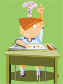 Desk,Child,Children Only,Asking,Question Mark,Science,Dress Shoe,Education,Schoolboy,Ideas,Preschool,Book,Chair,Cute,Lifestyle,Communication,Babies And Children,Education,Industry,Concepts And Ideas,Pencil,Sock,Elementary Age,Button Down Shirt,Contemplation,Human Teeth,Shoe-laces