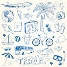 Symbol,Sandal,Vacations,Nautical Vessel,Suitcase,Cocktail,Camping,Airplane,Pencil,Bicycle,Blue,Summer,Palm Tree,Beach,Fun,Passport,Illustration,Doodle,Vector,Collection,2015,,Beach Travel