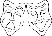 Broadway,Broadway - Worcestershire,Comedy Mask,Tragedy Mask,Theatrical Performance,Performance,Actor,Acting,Evil,Positive Emotion,Cheerful,Depression - Sadness,Sadness,Playing,Illustrations And Vector Art,Contrasts