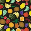 Computer Graphics,Food,Symbol,Nature,Formal Garden,Eating,Harvesting,Colors,Black Color,Green Color,Orange Color,White Color,Multi Colored,Dark,Pattern,Tropical Climate,Fruit,Leaf,Summer,Apple - Fruit,Cherry,Grape,Melon,Lemon,Banana,Kiwi - Fruit,Shadow,Backgrounds,Blackberry - Fruit,Raspberry,Computer Graphic,Apricot,Pineapple,Hungry,Illustration,Organic,Textured,Vector,Vitamin,Background,Single Object,2015,81352,Seamless Pattern,261894