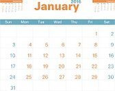 Personal Organizer,Design,Calendar,Illustration,Monthly,No People,Vector,Month,January,2016,2015,Wall Calendar,Monthly Planner