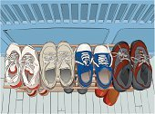 Shoe,Sports Shoe,Canvas Shoe,Rack,Old,Hiking Boot,Walking,Ilustration,Vector,Group of Objects,Clothing,Flooring,Fashion,Casual Clothing,Lace,Beauty And Health,Illustrations And Vector Art,odltimer,Fashion,Comfortable,Painted Image,Art Product,Run-Down