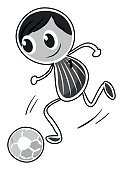 Computer Graphics,Control,Stability,Close-up,Soccer,Smiling,Kicking,Small,Childhood,Computer Graphic,Playing,Child,Illustration,Grayscale,Boys,Vector,White Background,Kids' Soccer,2015,Clip Art