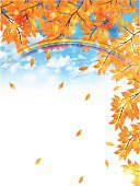Blue,Yellow,Material,Tree,Sky,Leaf,Autumn,Illustration,No People,Vector,2015,autumn sky