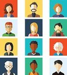 People,Individuality,Variation,Drawing - Art Product,Modern,Orthographic Symbol,Adult,Young Adult,Illustration,Cartoon,Males,Men,Females,Women,Vector,Characters,2015,Clip Art,Design Element,Icon Set,Avatar,268399,Flat Design