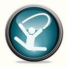 Gymnastics,Symbol,Computer Icon,Dancing,Ribbon,Sport,Circle,Interface Icons,Ilustration,Illustrations And Vector Art,Isolated On White,People,Modern,Sports And Fitness,Vector Icons,Series,Elegance,Blue,Shiny