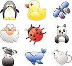 Duck,Mouse,Penguin,Ladybug,Sheep,Panda,Animal,Butterfly - Insect,Vector,Whale,Bird,Insect,Bull - Animal,Ilustration,Backgrounds,Mammal,Illustrations And Vector Art,Animals And Pets